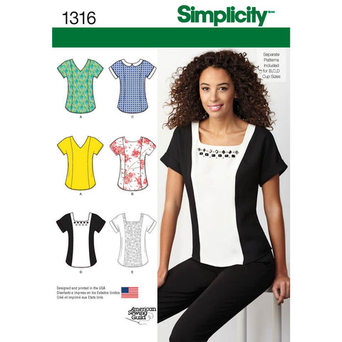 Simplicity Sewing Pattern 1316 - Women's Top with Neckline Variations