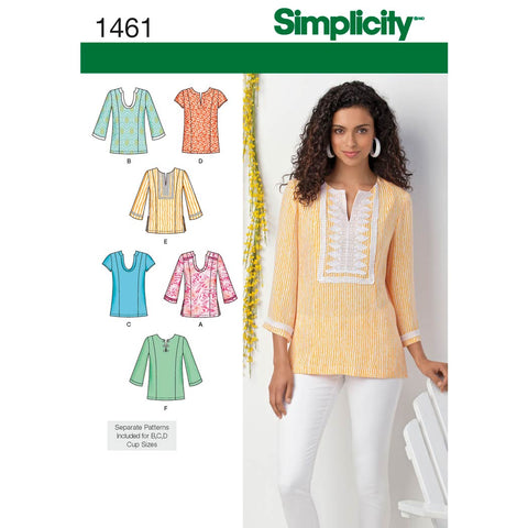 Simplicity Sewing Pattern 1461 - Women's and Plus Tunic with Neckline and Sleeve Variations