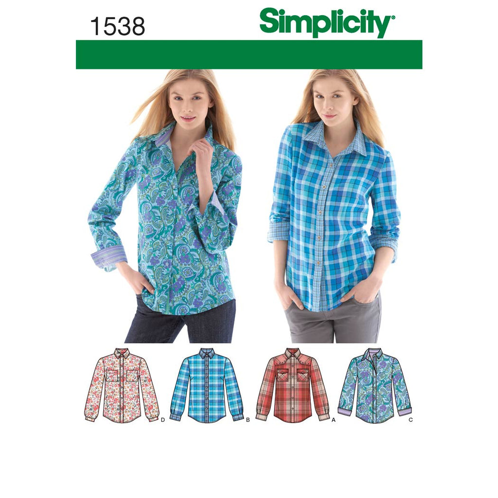 Simplicity Sewing Pattern 1538 - Women's Button Front Shirt