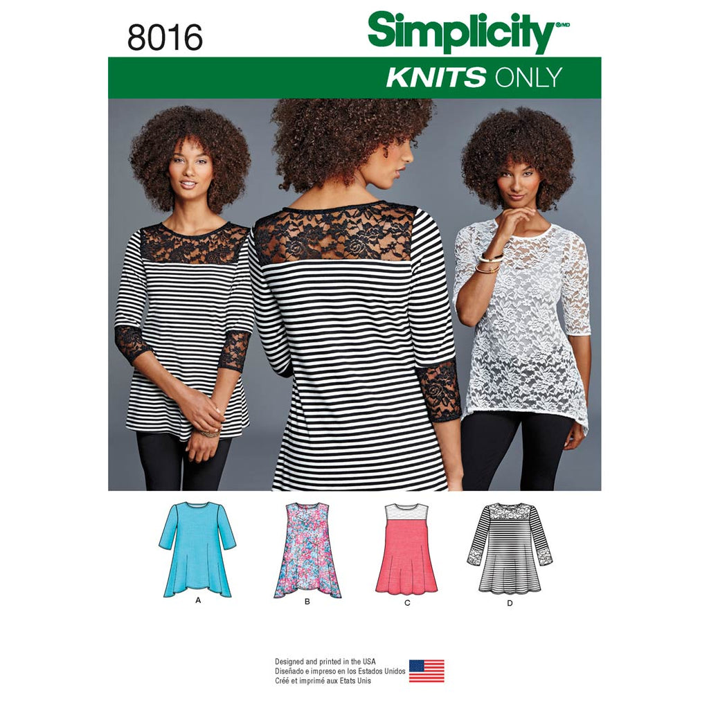 Simplicity Sewing Pattern 8016 - Women's Knit Tops with Lace Variations