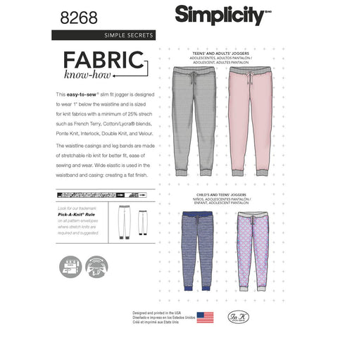 Simplicity Sewing Pattern 8268 - Child's, Teen's and Adult's Slim Fit Knit Jogger