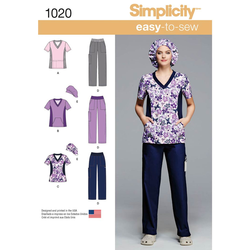 Simplicity Sewing Pattern 1020 - Women's and Plus Size Scrubs