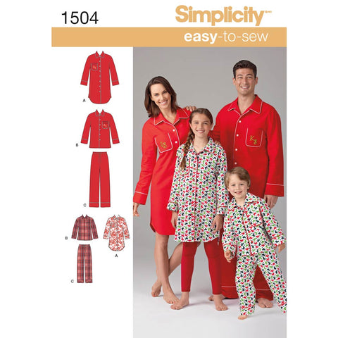 Simplicity Sewing Pattern 1504 - Child's, Teens' and Adults' Loungewear
