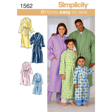 Simplicity Sewing Pattern 1562 - Child's, Teens' and Adults' Robe and Belt