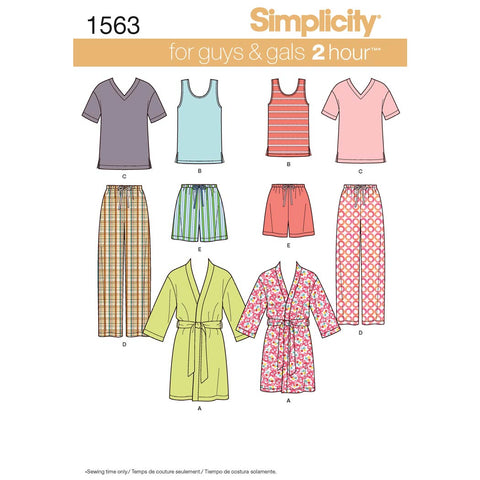 Simplicity Sewing Pattern 1563 - Women's Men's and Teens' Sleepwear