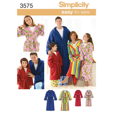 Simplicity Sewing Pattern 3575 - Women's/Men/Child Sleepwear