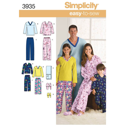 Simplicity Sewing Pattern 3935 - Women's/Men/Child Sleepwear