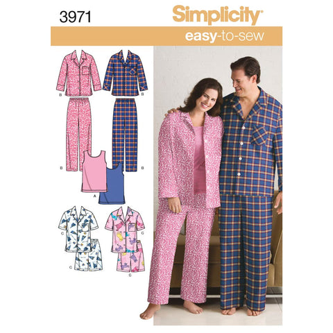 Simplicity Sewing Pattern 3971 - Women's & Men's Plus Size Sleepwear
