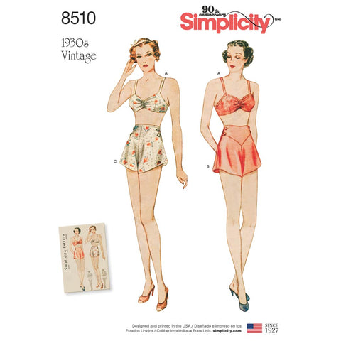 Simplicity Sewing Pattern 8510 - Miss Vintage Brassiere & Panties