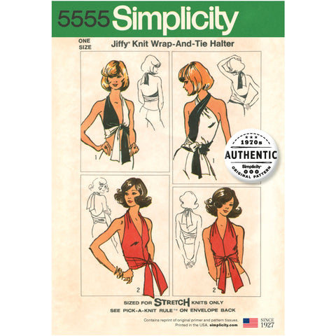Simplicity Sewing Pattern 5555 - Women's Vintage Jiffy Knit Wrap & Tie Top