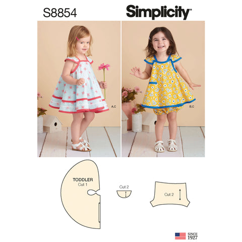Simplicity Sewing Pattern S8854 - Toddlers' Pinafore and Panties