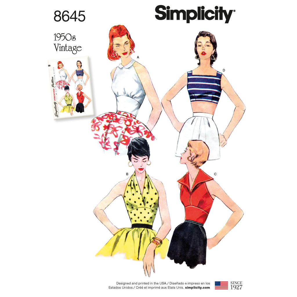 Simplicity Sewing Pattern 8645 - Women's Vintage Tops