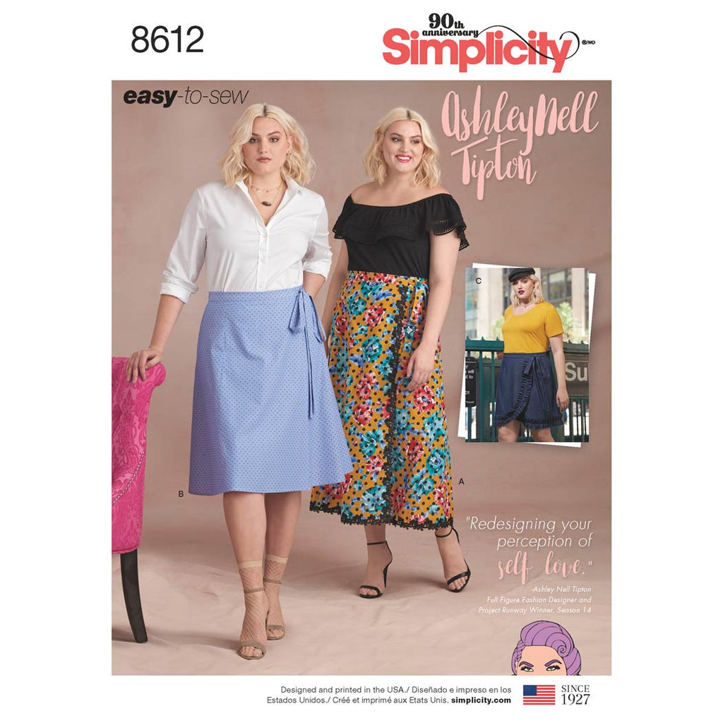 Simplicity Sewing Pattern 8612 - Women's Easy Wrap Skirts by Ashley Nell Tipton