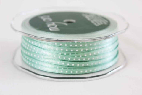 3mm Mint Green Polka Dot Satin Ribbon