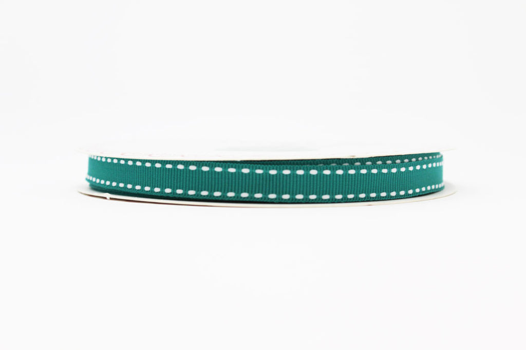 9mm Stitched Edge Ribbon - Teal