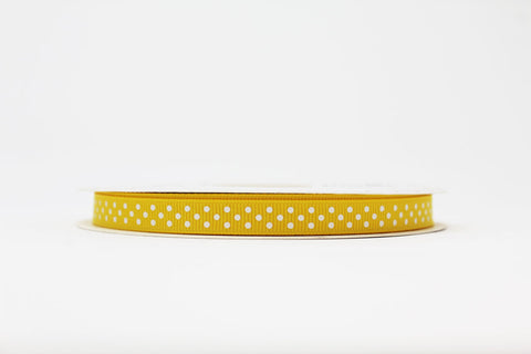 9mm Yellow Polka Dot Ribbon