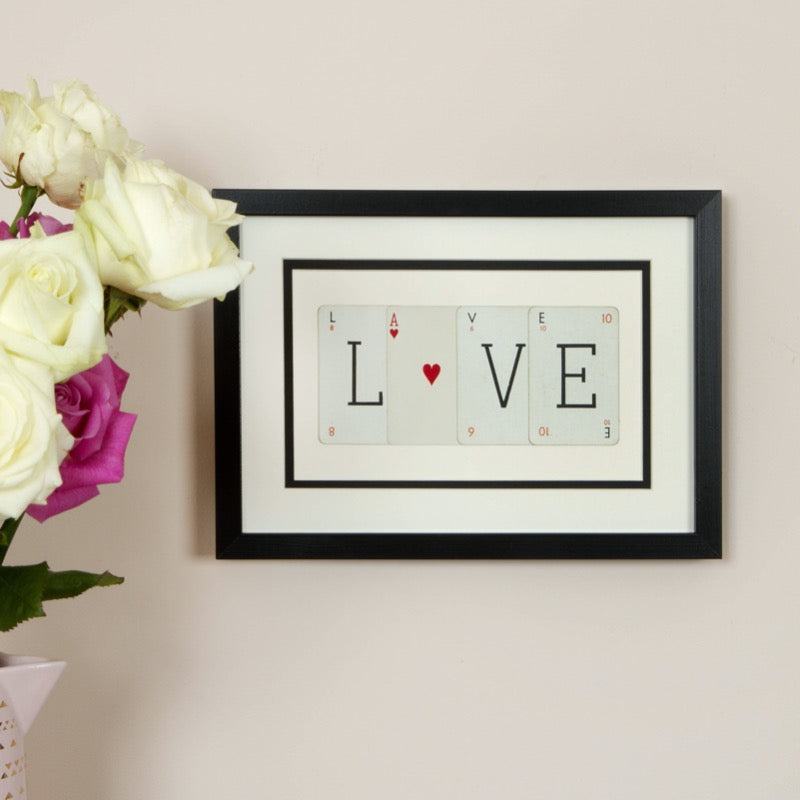 Love with Heart Playing Card Frame
