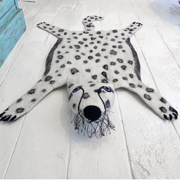 Chui Wa The Handmade Snow Leopard Felted Rug