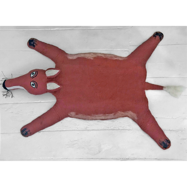 Fergus The Fox Handmade Felted Rug