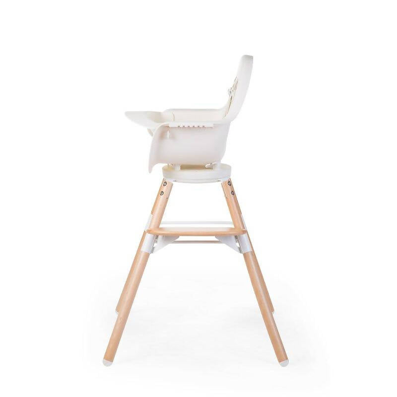 Evolu One 80° Adjustable Height Highchair - Natural/White with wooden legs