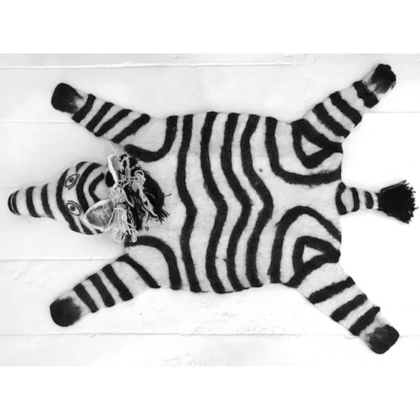 Pundamilia The Zebra Handmade Felted Rug