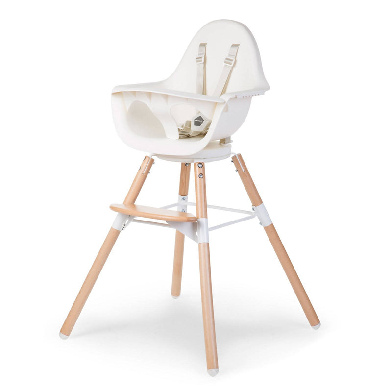 Evolu One 80° Adjustable Height Highchair - Natural/White