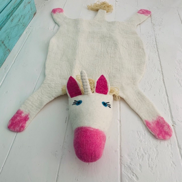 Electra The Unicorn Handmade Felted Rug
