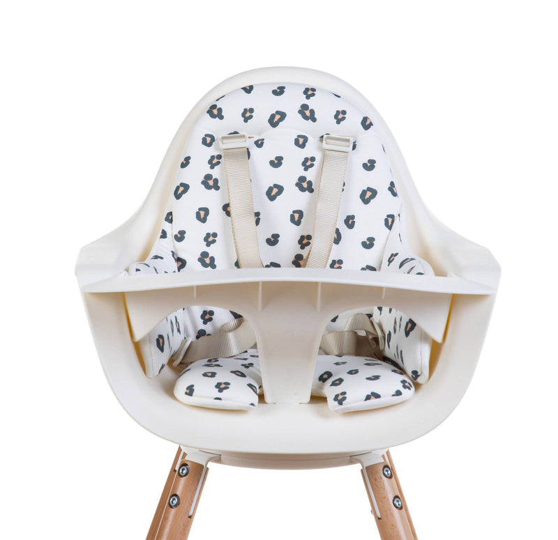 Evolu One 80° Adjustable Height Highchair - Natural/White with leopard print cushion