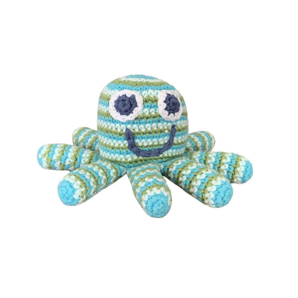 Crochet Cotton Octopus in Pale Blue and Green Stripes