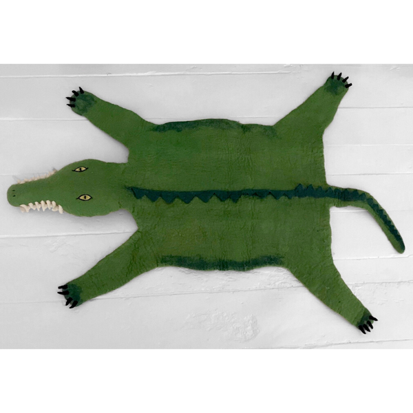 Mamba The Crocodile Handmade Felted Rug