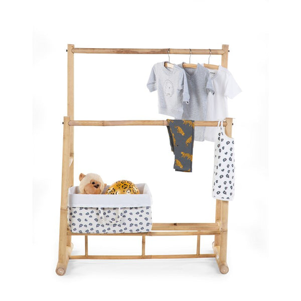 Bamboo Clothes Rack with Wall Shelf