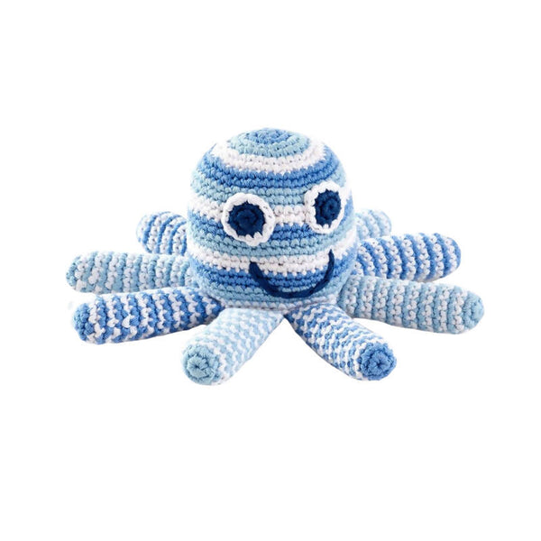 Crochet Cotton Octopus in Pale Blue Stripes