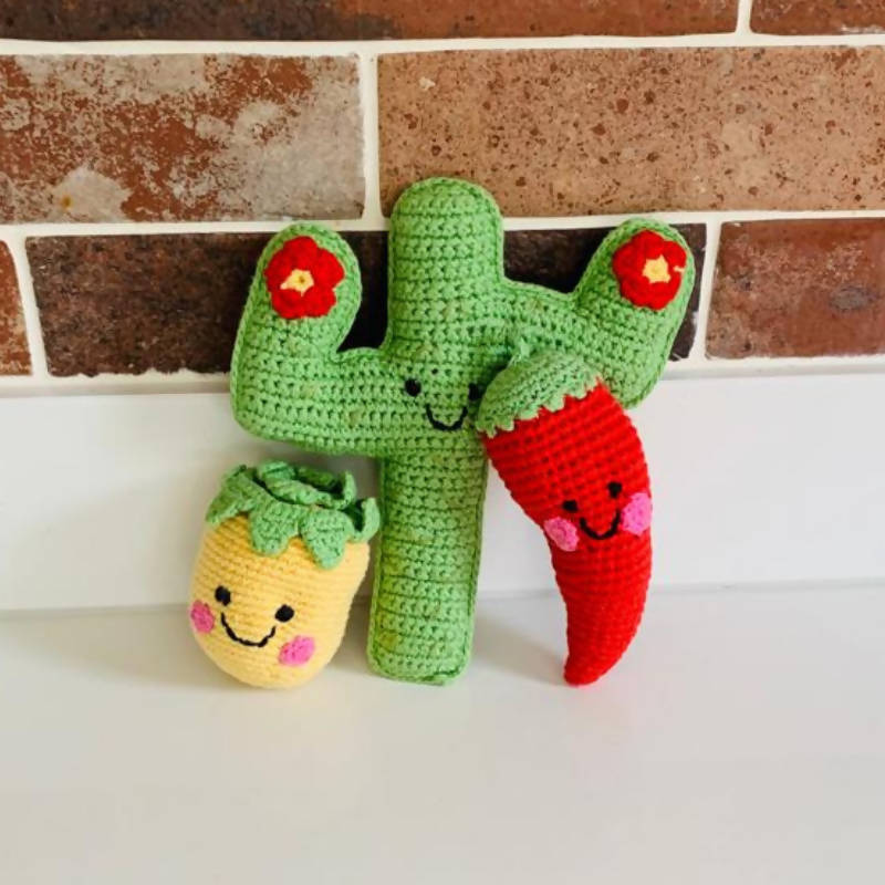 Crochet Chilli Baby Rattle with friends Pineapple and Cactus