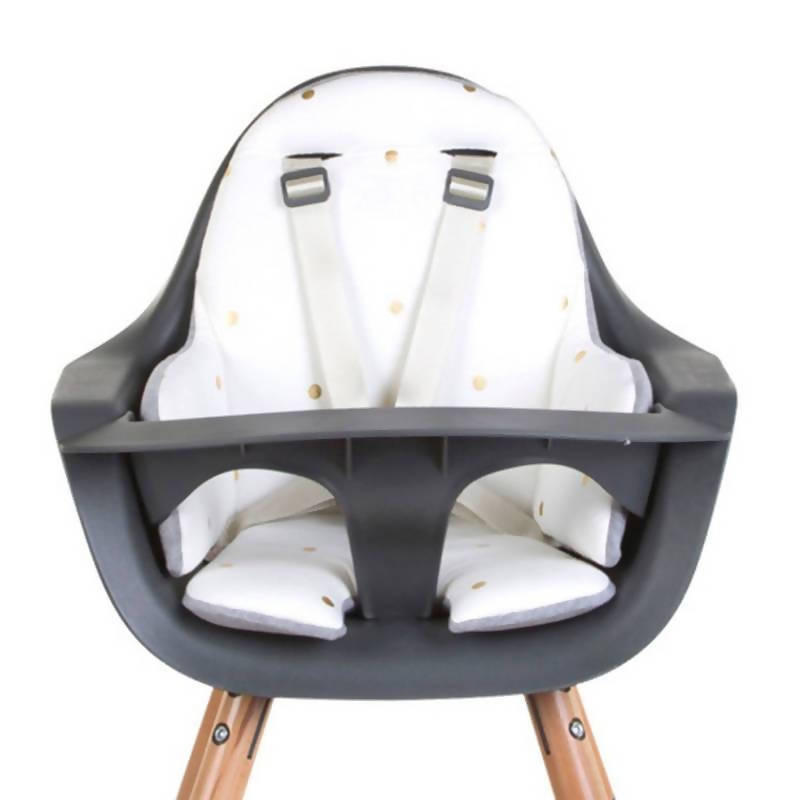 Evolu One 80° Adjustable Height Highchair - Natural/White with golden dot cushion