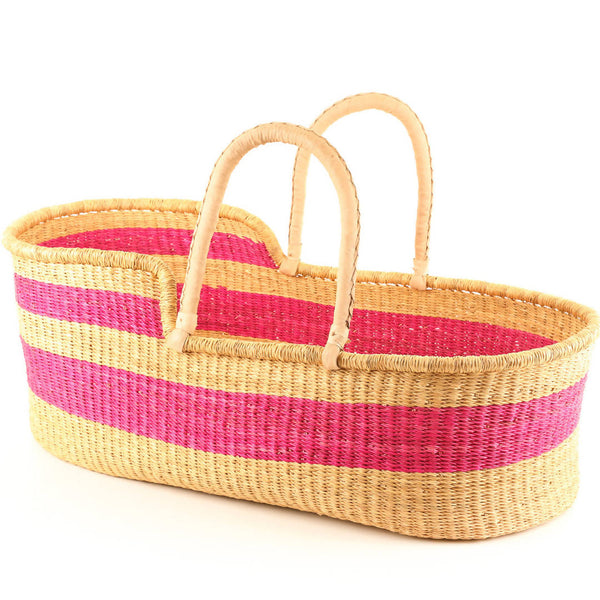 Bright Pink Stripe Moses Basket