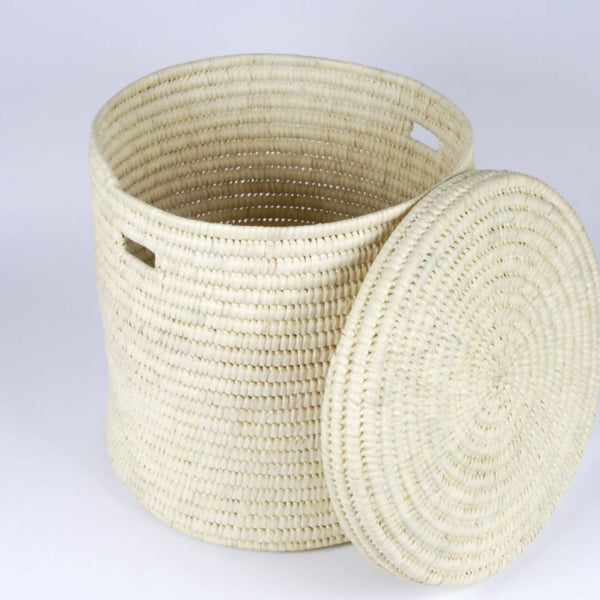 Natural Lidded Storage Basket