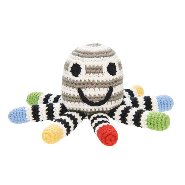 Crochet Cotton Octopus in Black, Grey and White Stripes