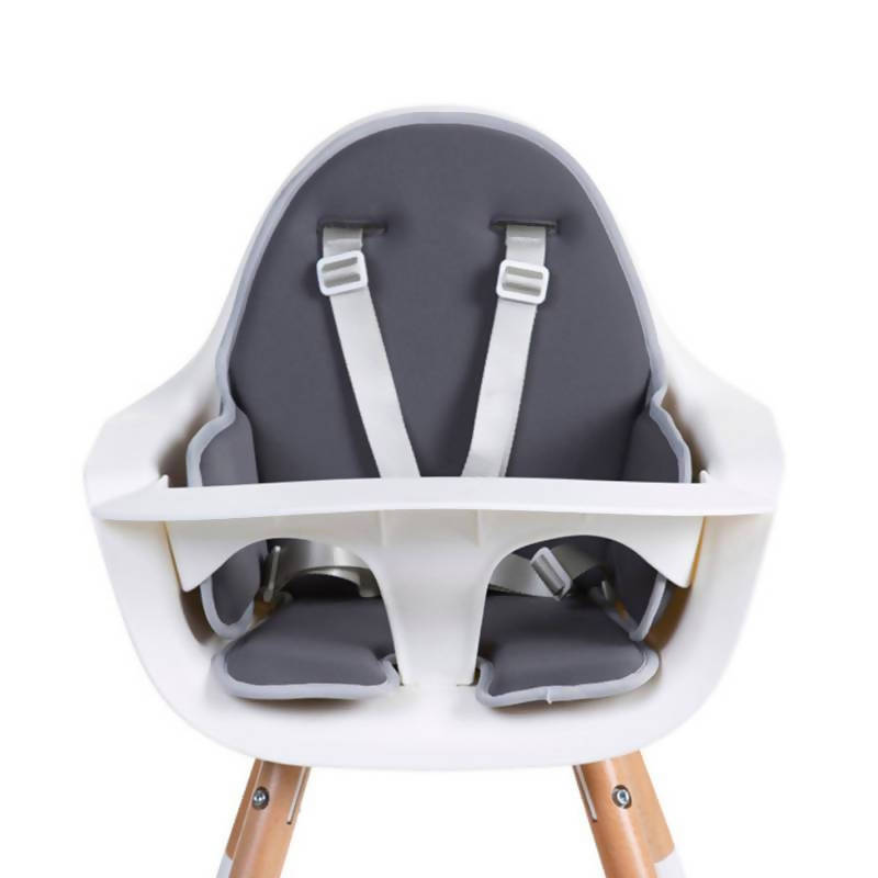 Evolu One 80° Adjustable Height Highchair - Natural/White with grey cushion