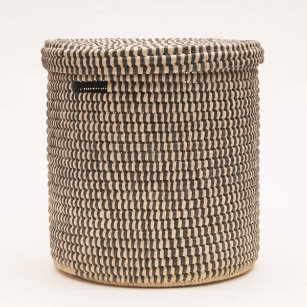 Brown Slate Checked Lidded Storage Basket