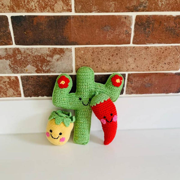 Crochet Cactus Baby Rattle with friends Chilli and Pineapple