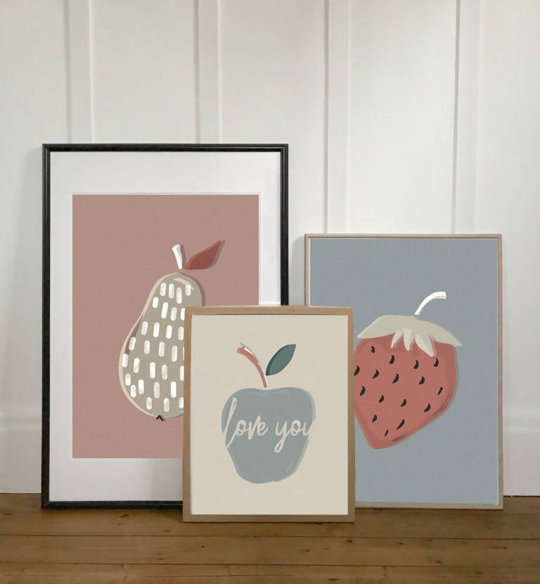 apple, pear and strawberry print