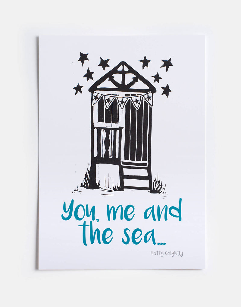 You, Me and The Sea Beach Hut Print