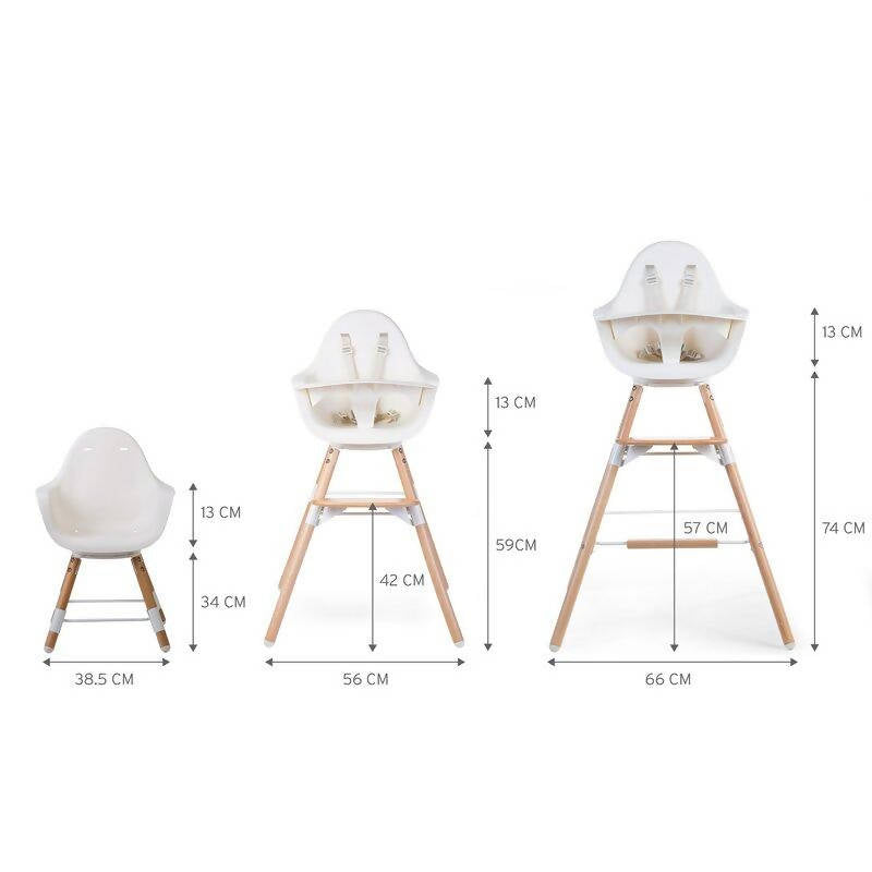 Evolu One 80° Adjustable Height Highchair - Natural/White measurements