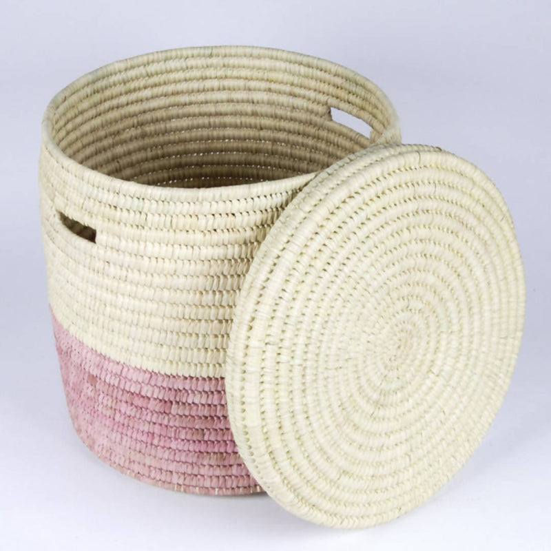 Dusky Pink Colour Block Lidded Storage Basket
