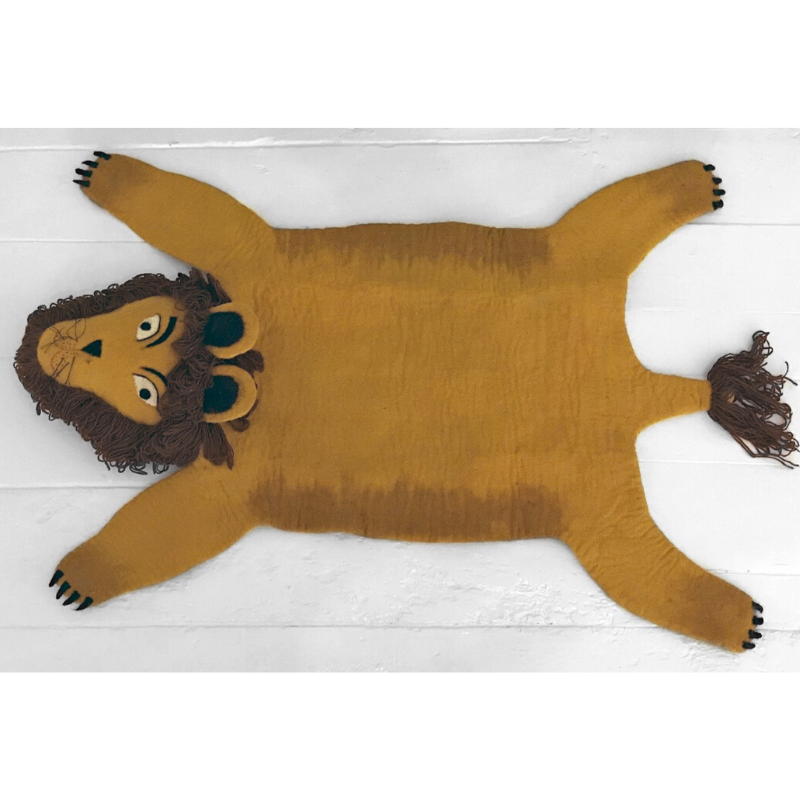 Simba The Handmade Lion Felted Rug