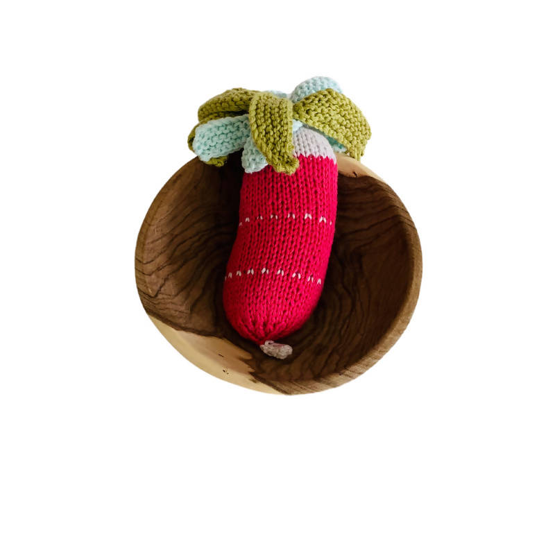 Red and Green Knitted Radish Rattle in bowl