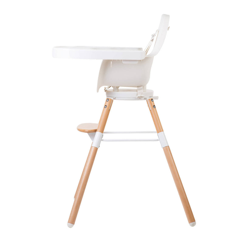 White highchair with wooden legs