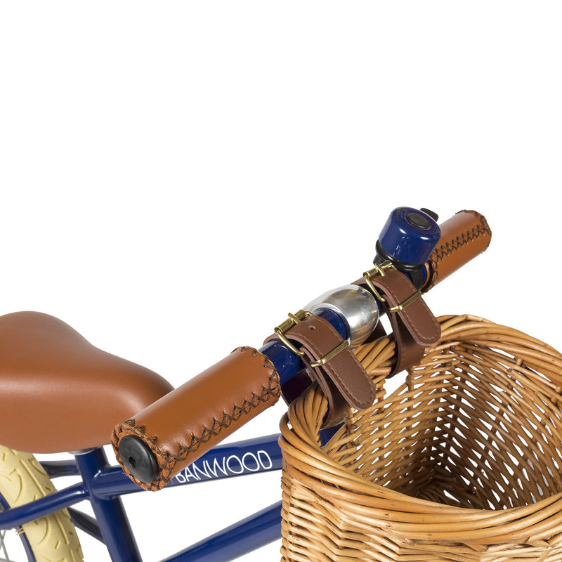Navy Blue Banwood bike with brown basket and brown handles