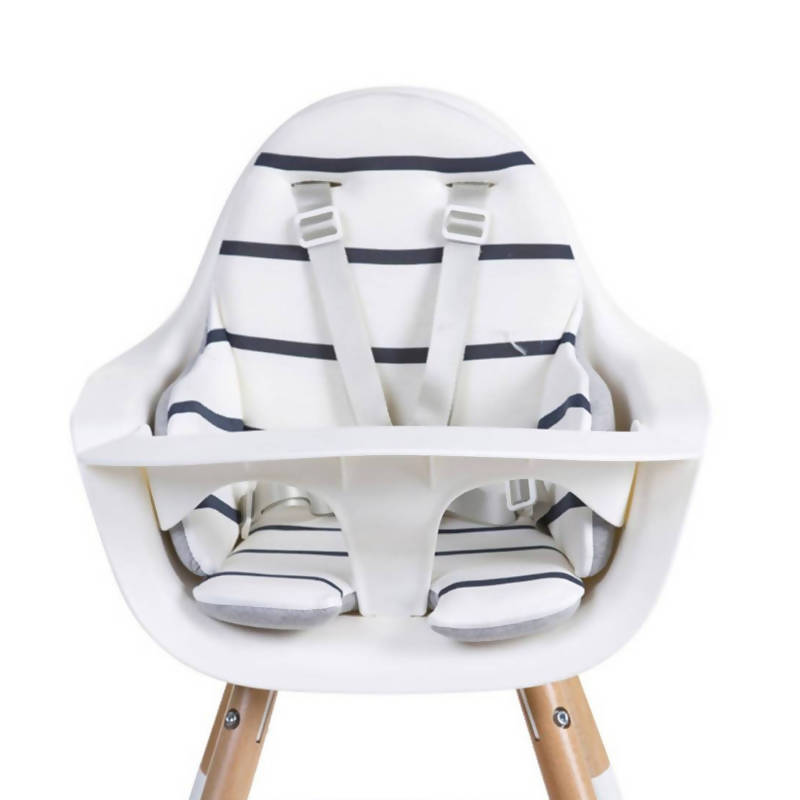 Evolu One 80° Adjustable Height Highchair - Natural/White with stripey cushion