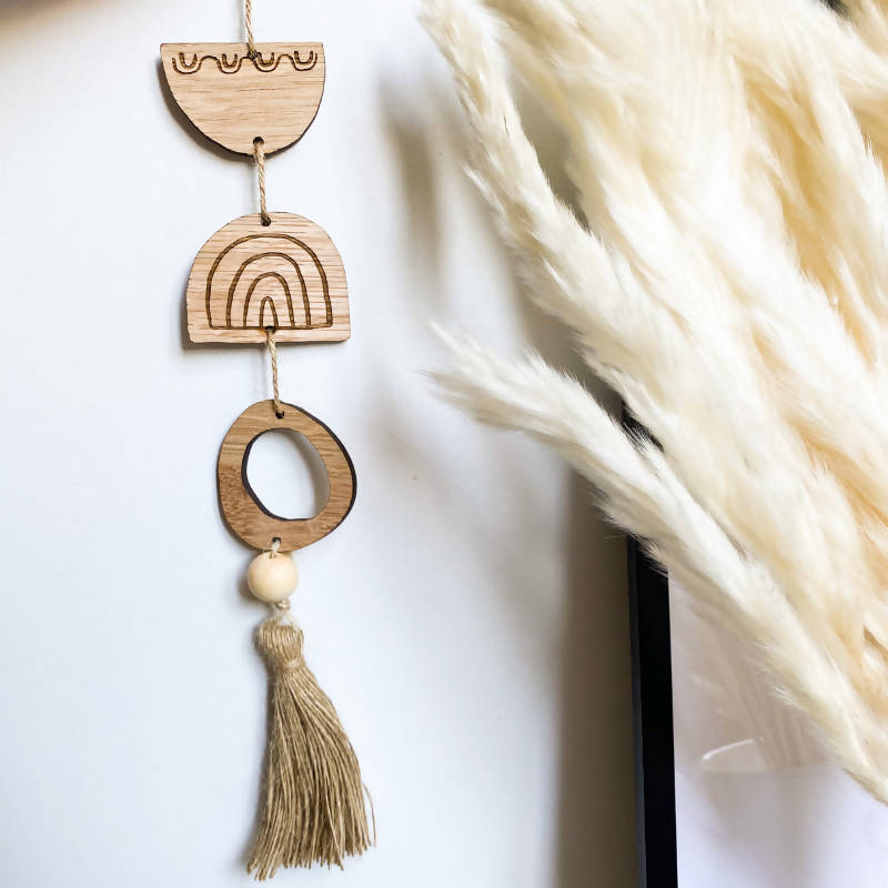 wooden rainbow tassel